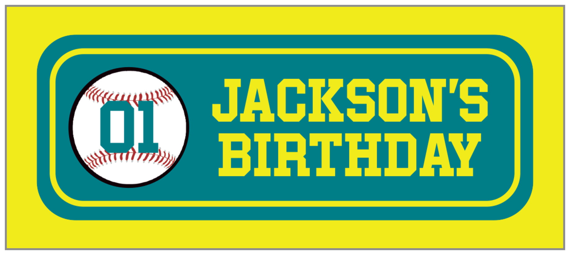 small rectangle food/craft labels - teal & yellow - baseball (set of 24)