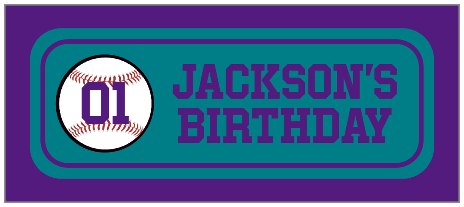 small rectangle food/craft labels - teal & purple - baseball (set of 24)