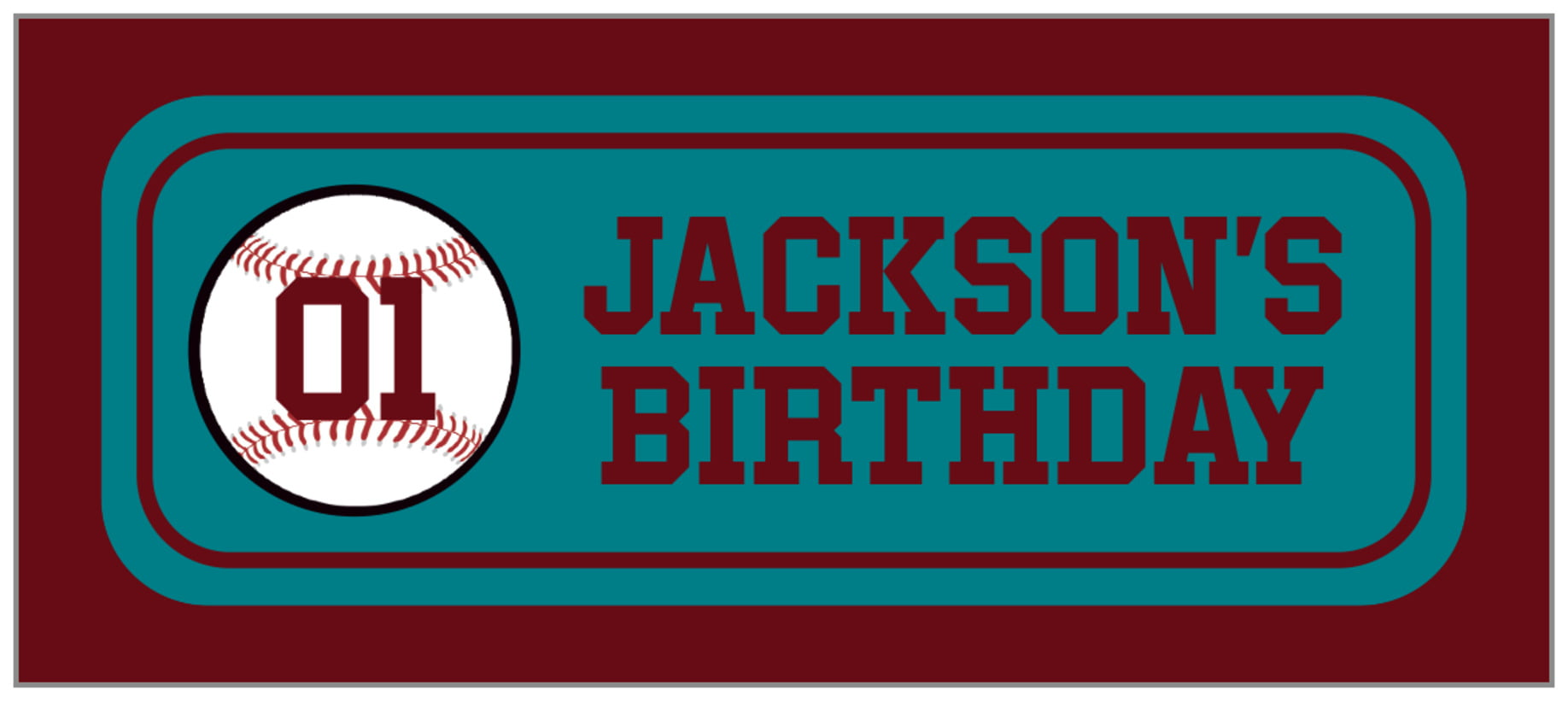 small rectangle food/craft labels - teal & maroon - baseball (set of 24)