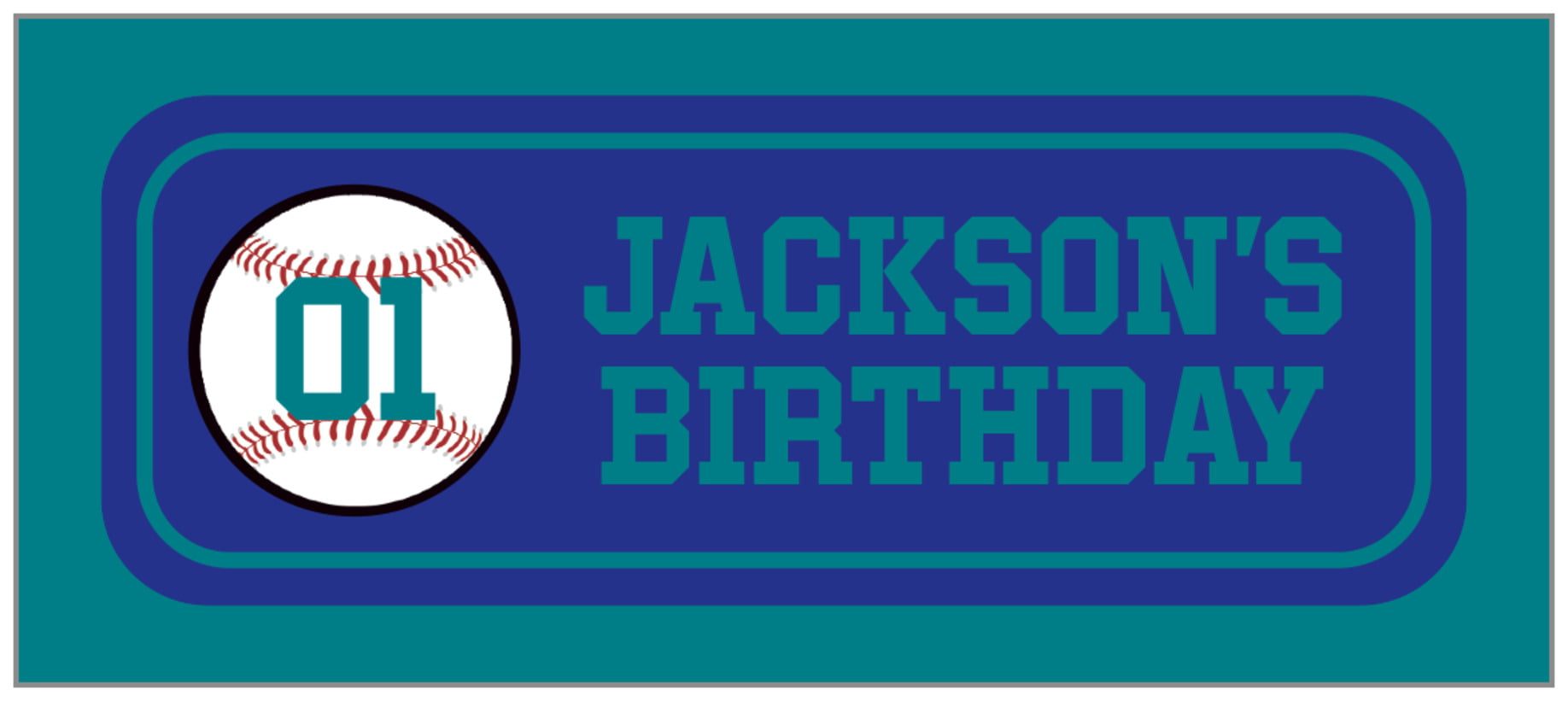 small rectangle food/craft labels - royal & teal - baseball (set of 24)