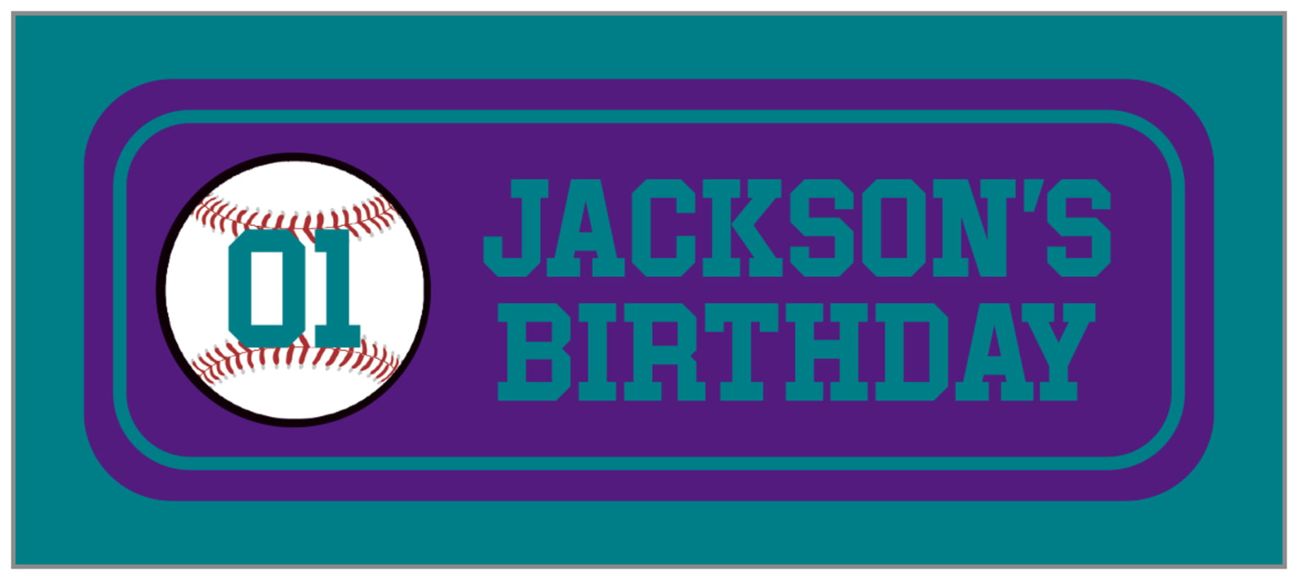 small rectangle food/craft labels - purple & teal - baseball (set of 24)