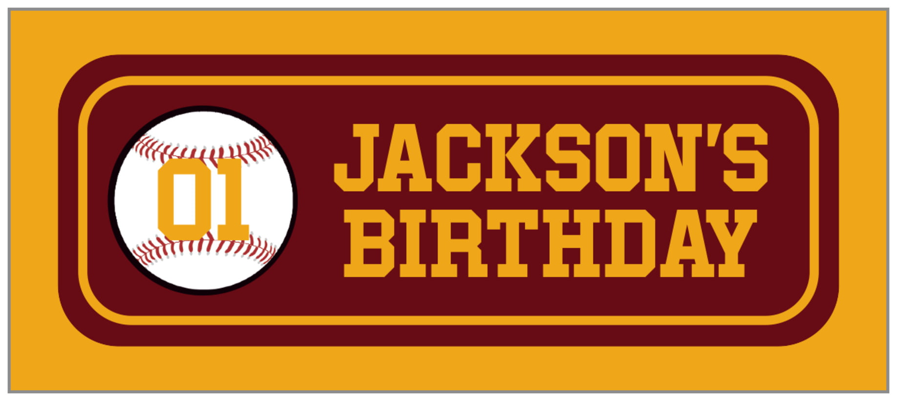 small rectangle food/craft labels - maroon & gold - baseball (set of 24)