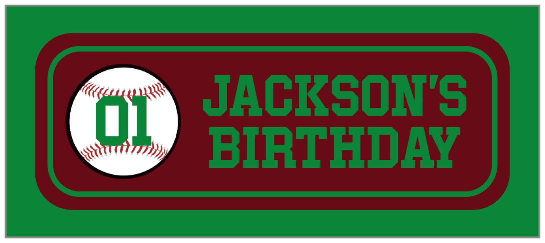 small rectangle food/craft labels - maroon & green - baseball (set of 24)