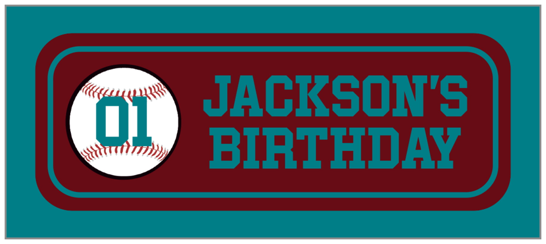 small rectangle food/craft labels - maroon & teal - baseball (set of 24)