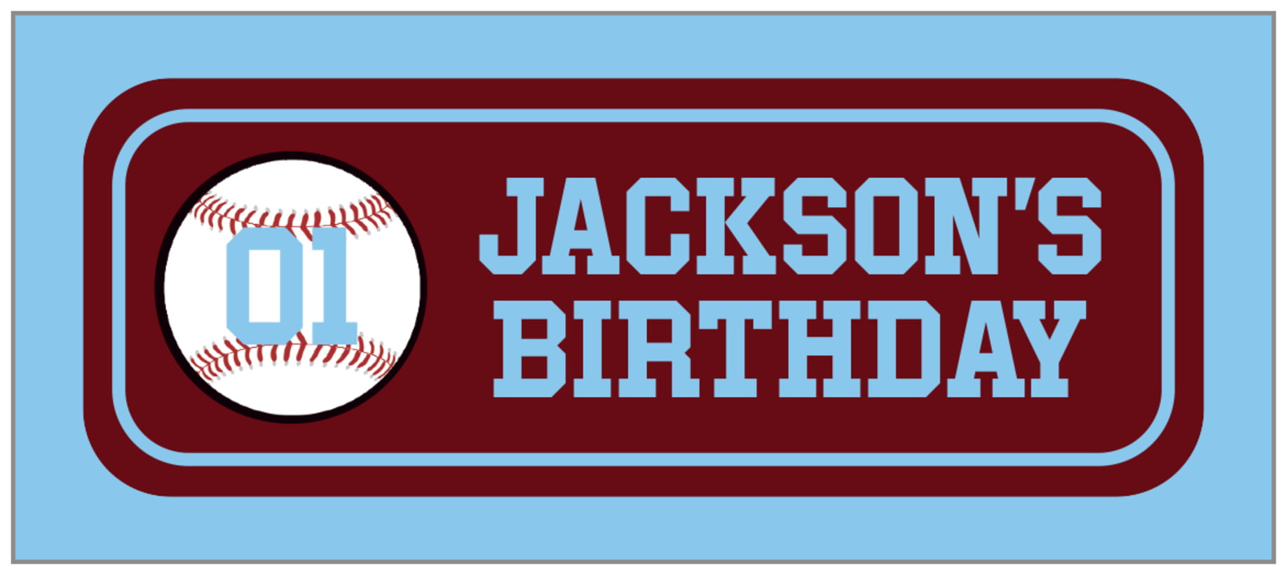small rectangle food/craft labels - maroon & light blue - baseball (set of 24)