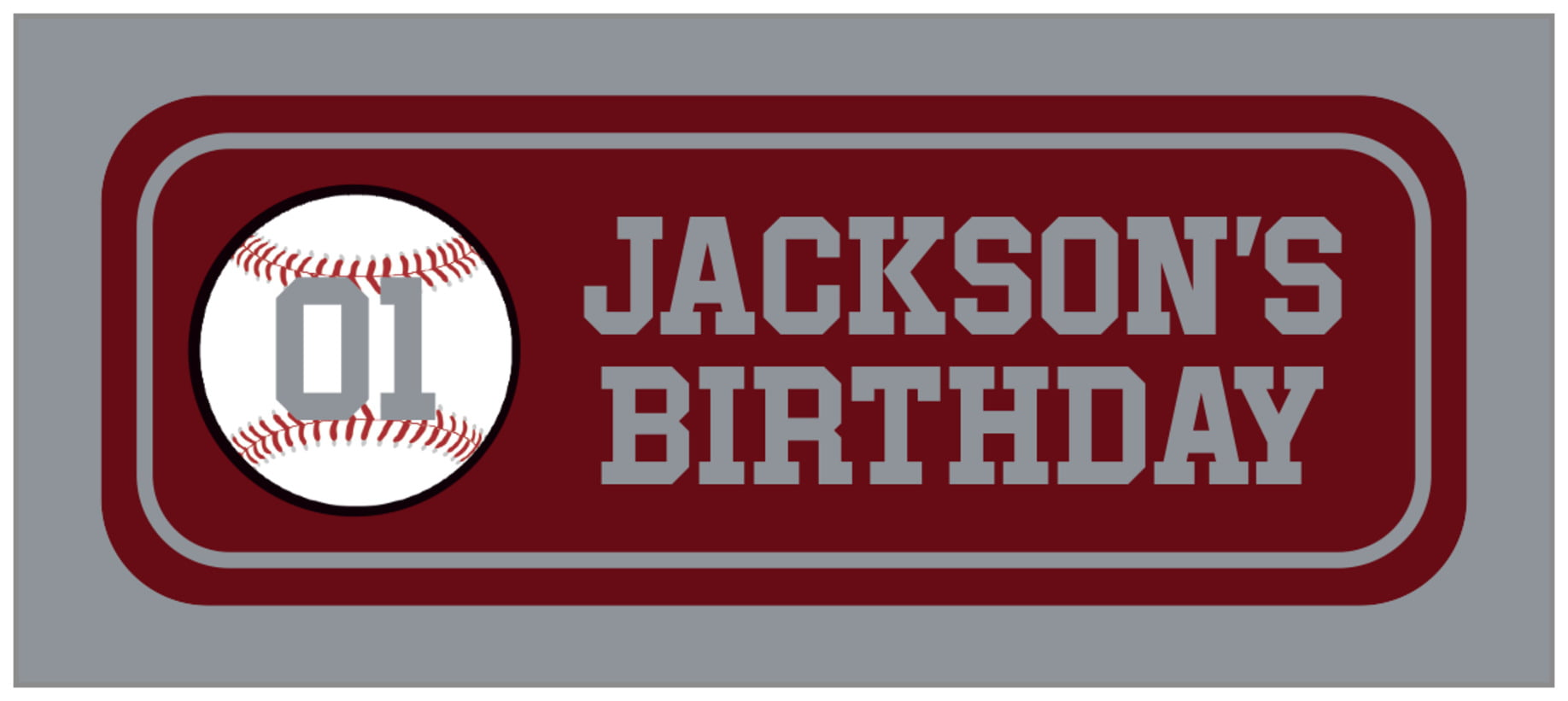 small rectangle food/craft labels - maroon & silver - baseball (set of 24)