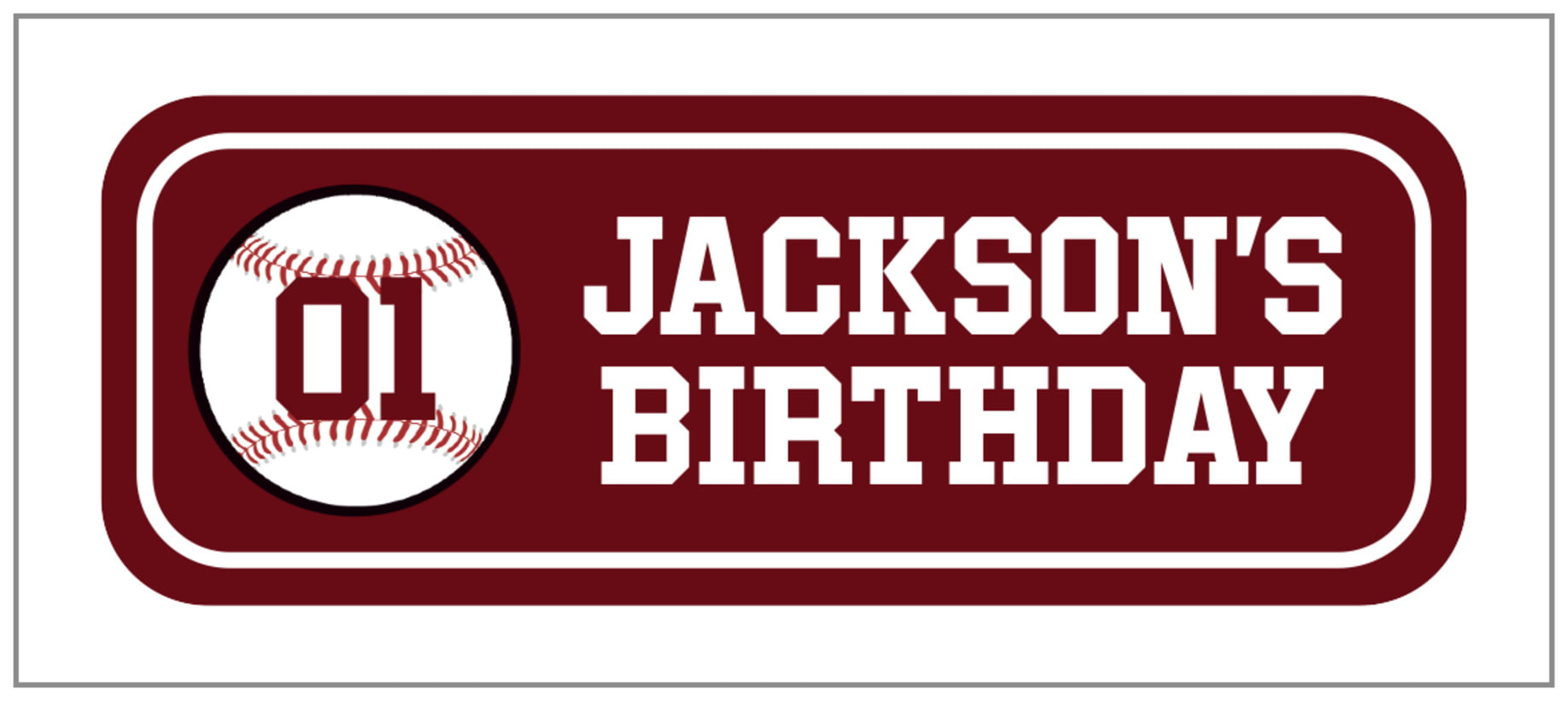 small rectangle food/craft labels - maroon & white - baseball (set of 24)