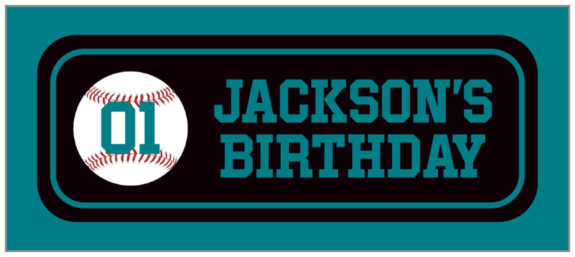 small rectangle food/craft labels - black & teal - baseball (set of 24)