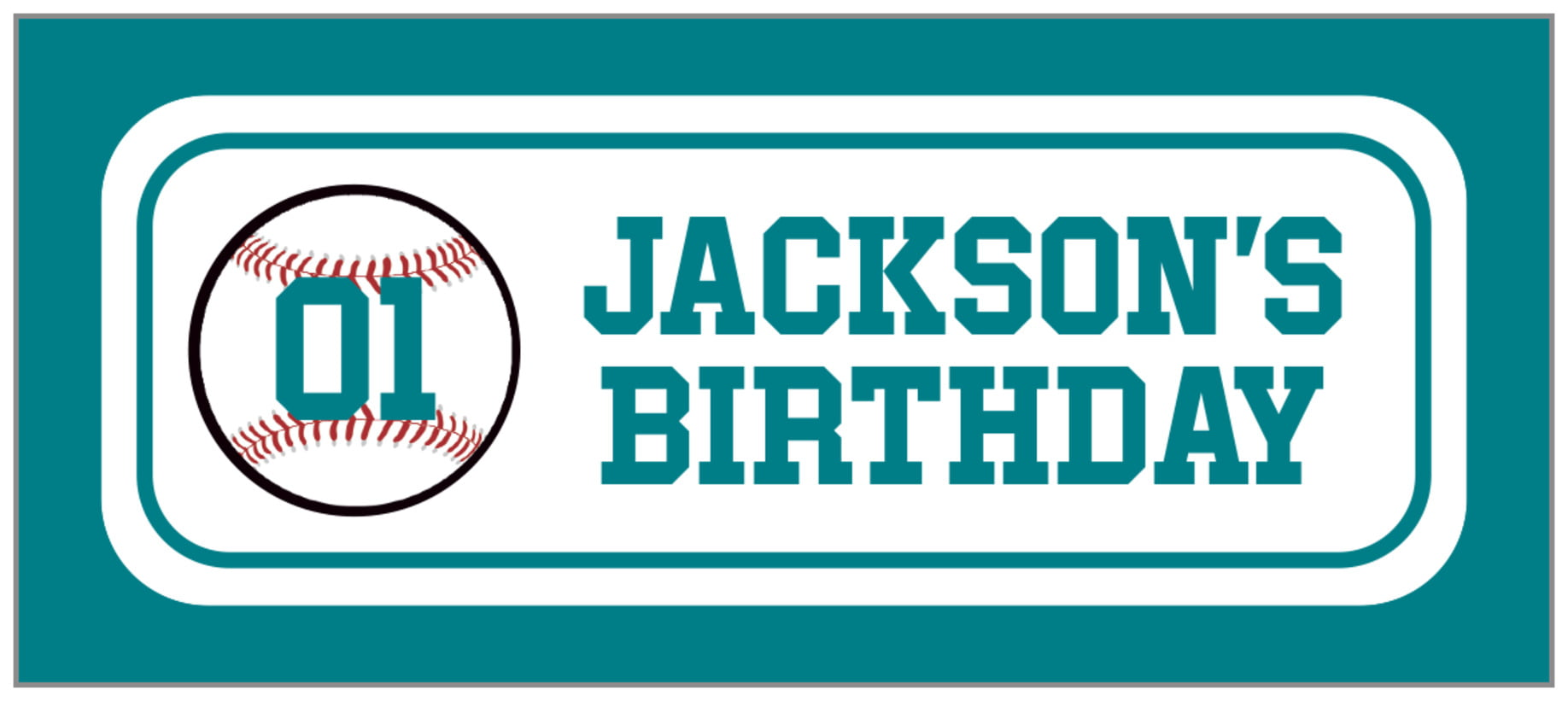 small rectangle food/craft labels - white & teal - baseball (set of 24)