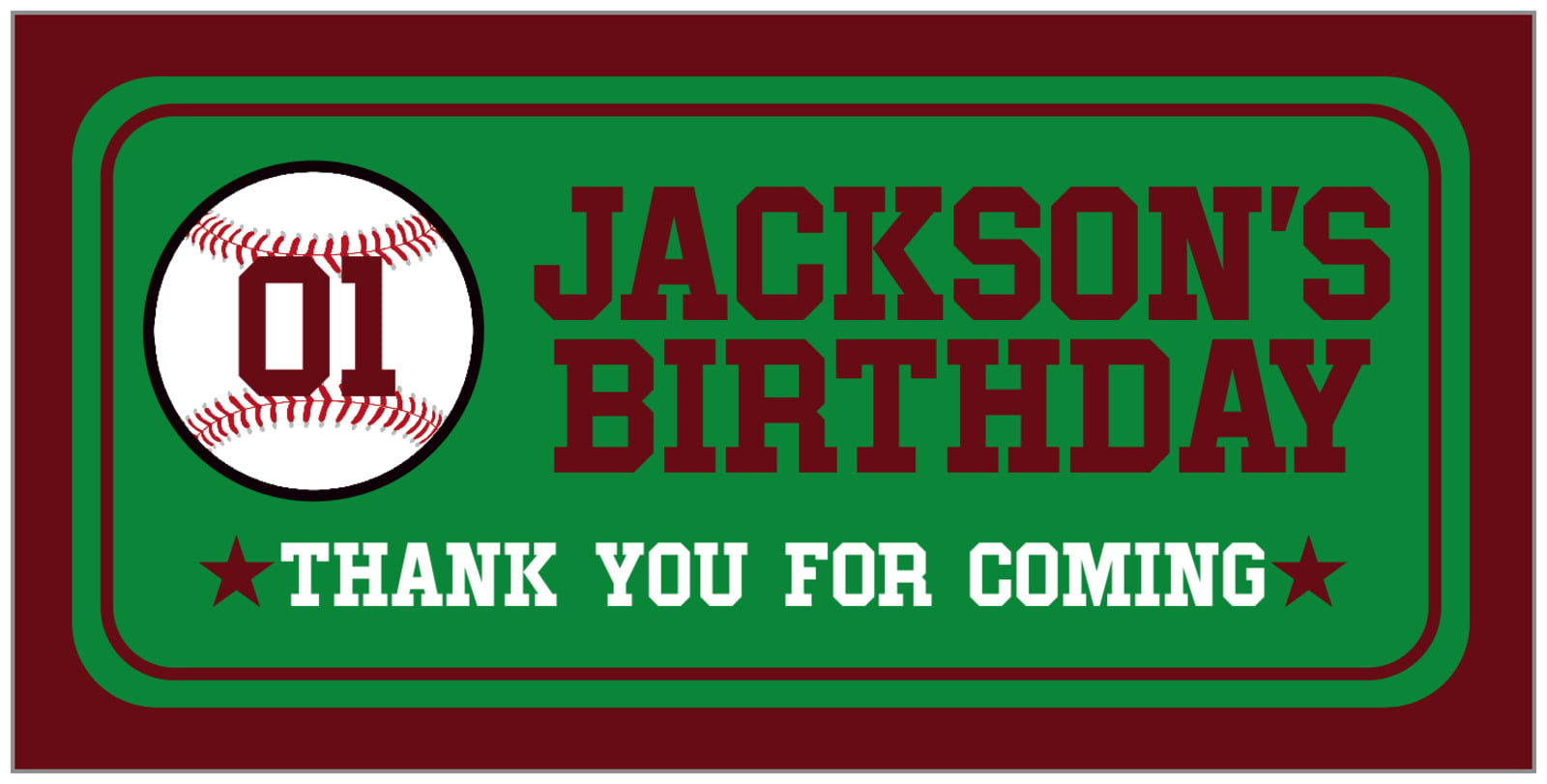 small rectangular food/craft labels - green & maroon - baseball (set of 24)
