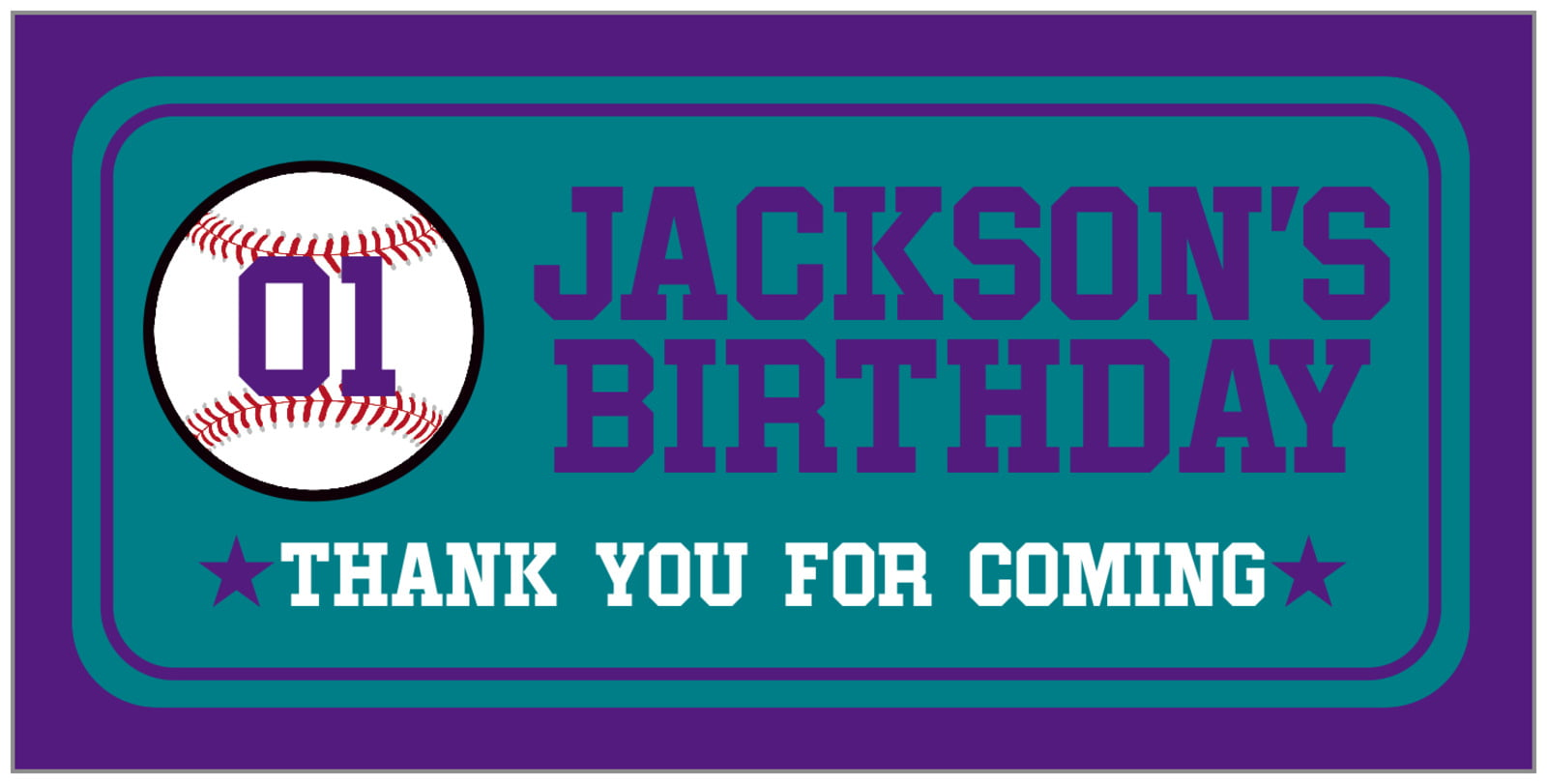 small rectangular food/craft labels - teal & purple - baseball (set of 24)