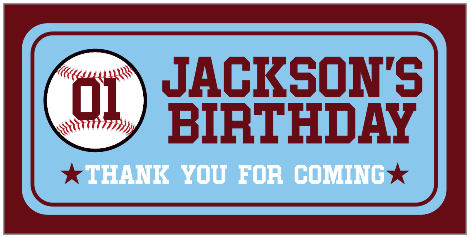small rectangular food/craft labels - light blue & maroon - baseball (set of 24)