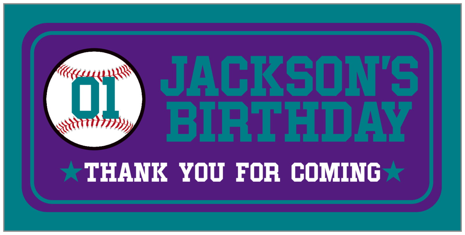 small rectangular food/craft labels - purple & teal - baseball (set of 24)