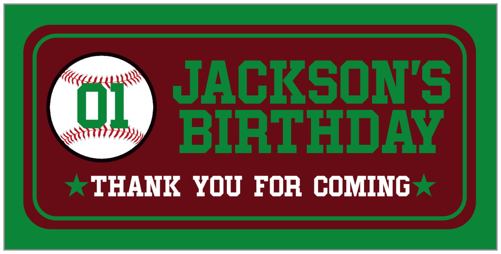 small rectangular food/craft labels - maroon & green - baseball (set of 24)