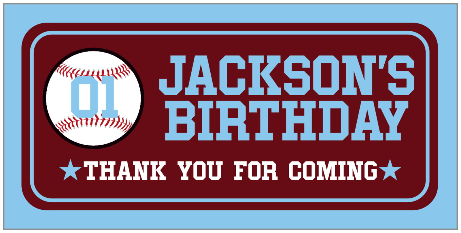 small rectangular food/craft labels - maroon & light blue - baseball (set of 24)