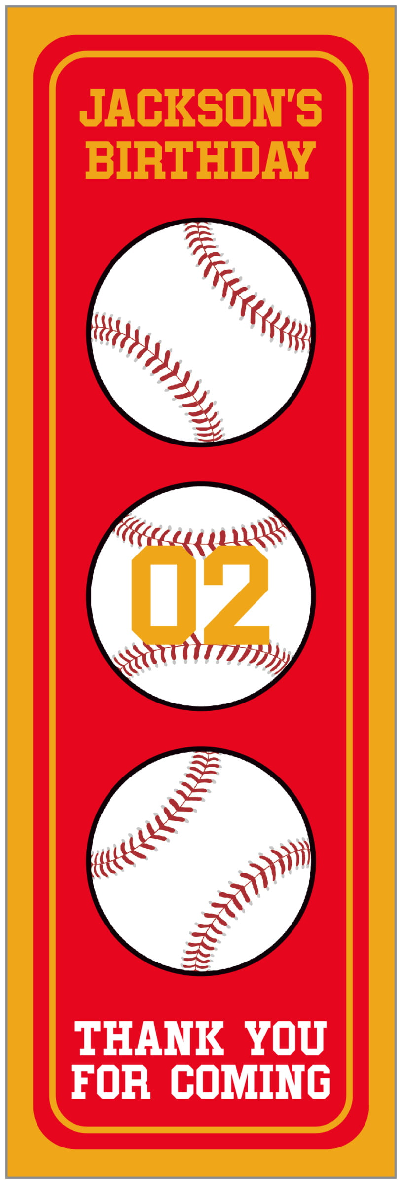 tall food/craft labels - red & gold - baseball (set of 14)