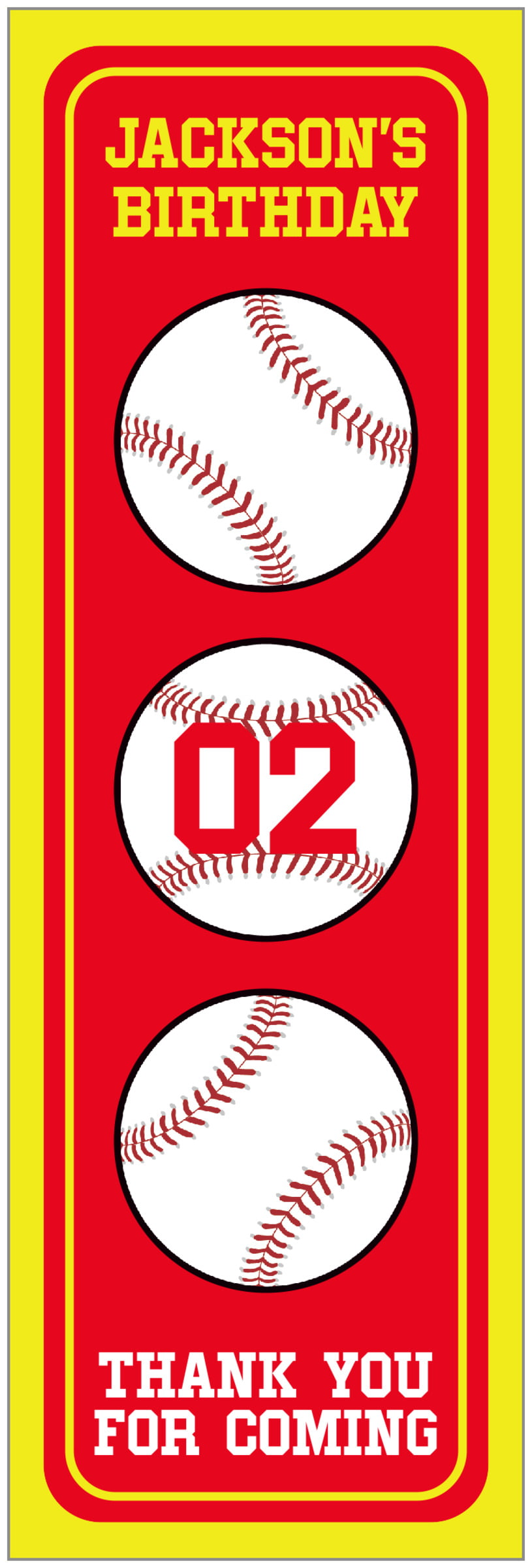 tall food/craft labels - red & yellow - baseball (set of 14)