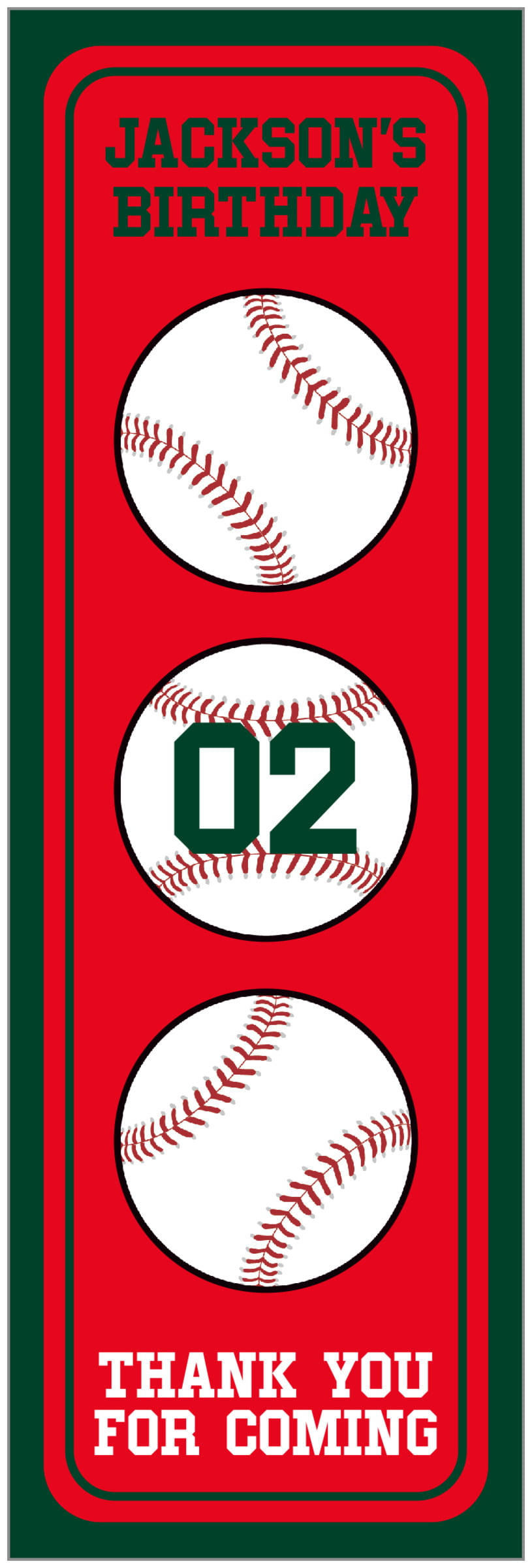tall food/craft labels - red & forest - baseball (set of 14)