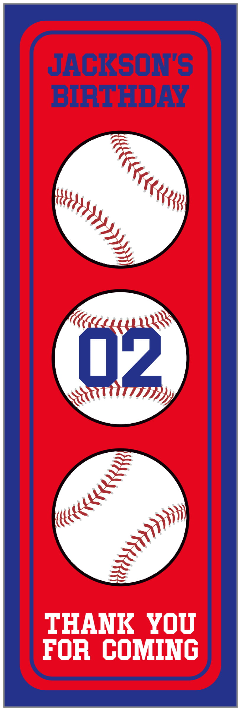 tall food/craft labels - red & royal - baseball (set of 14)