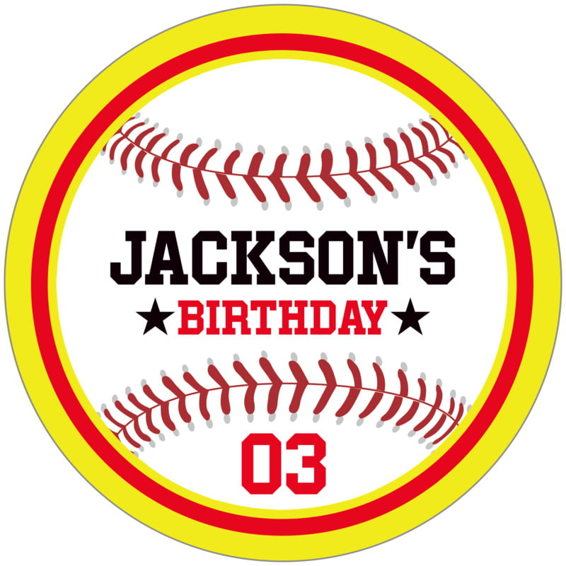 circle food/craft labels - red & yellow - baseball (set of 12)