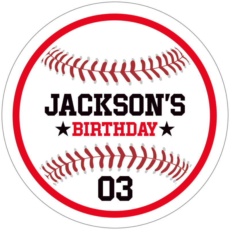 circle food/craft labels - red & white - baseball (set of 12)