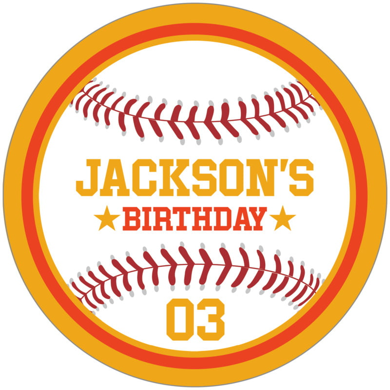 circle food/craft labels - orange & gold - baseball (set of 12)