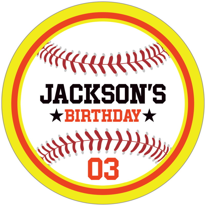 circle food/craft labels - orange & yellow - baseball (set of 12)