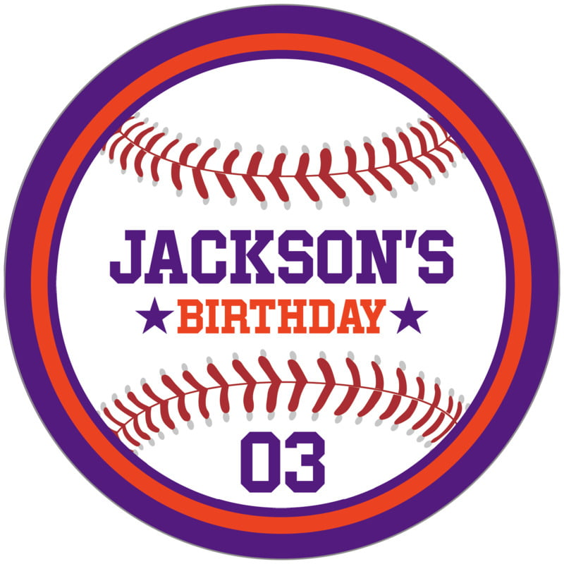 circle food/craft labels - orange & purple - baseball (set of 12)