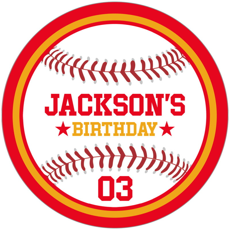 circle food/craft labels - gold & red - baseball (set of 12)