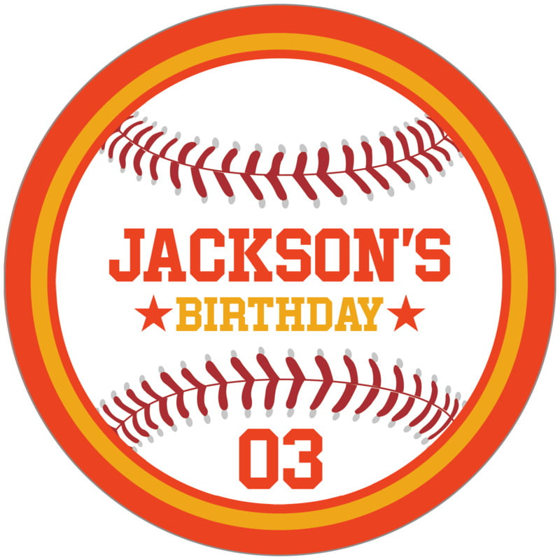 circle food/craft labels - gold & orange - baseball (set of 12)
