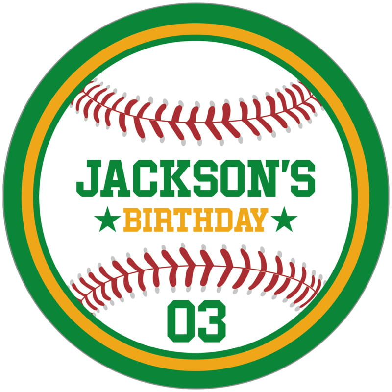 circle food/craft labels - gold & green - baseball (set of 12)