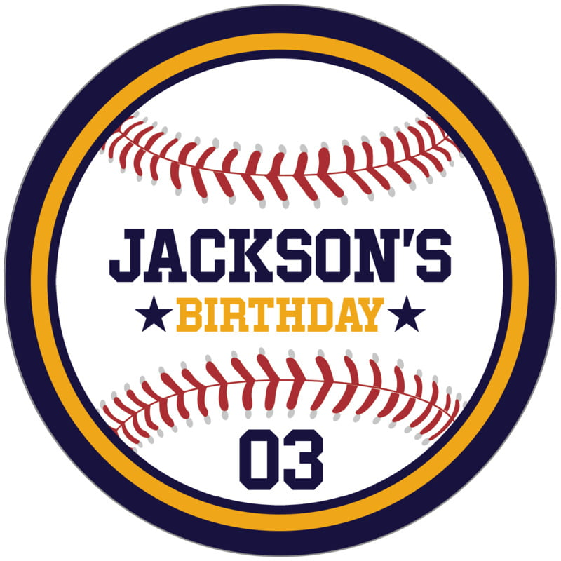 circle food/craft labels - gold & navy - baseball (set of 12)