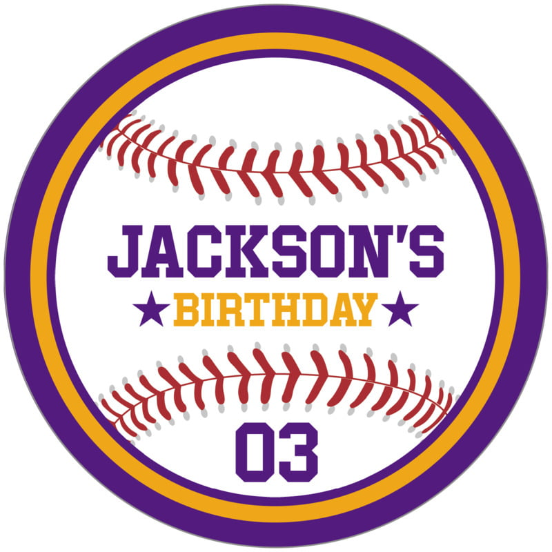 circle food/craft labels - gold & purple - baseball (set of 12)