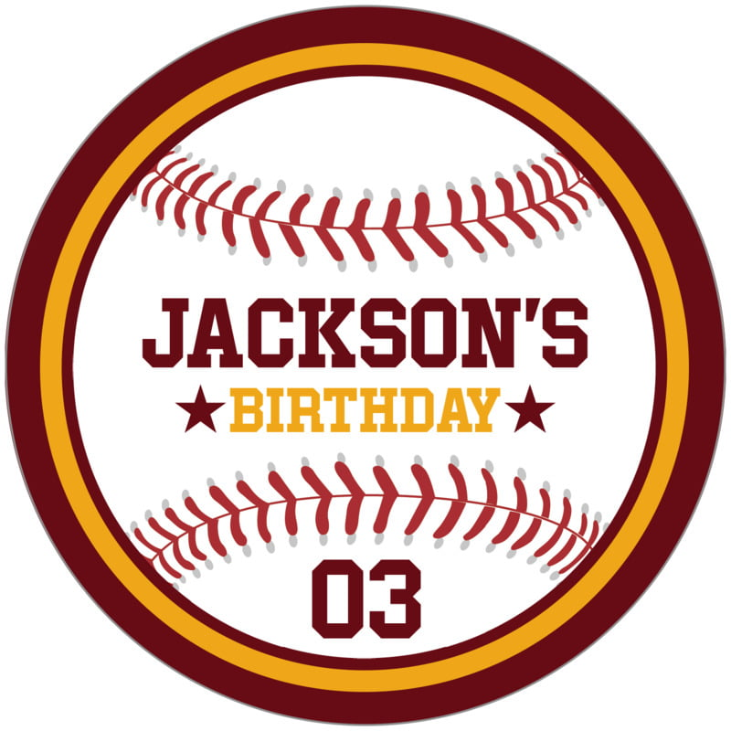 circle food/craft labels - gold & maroon - baseball (set of 12)