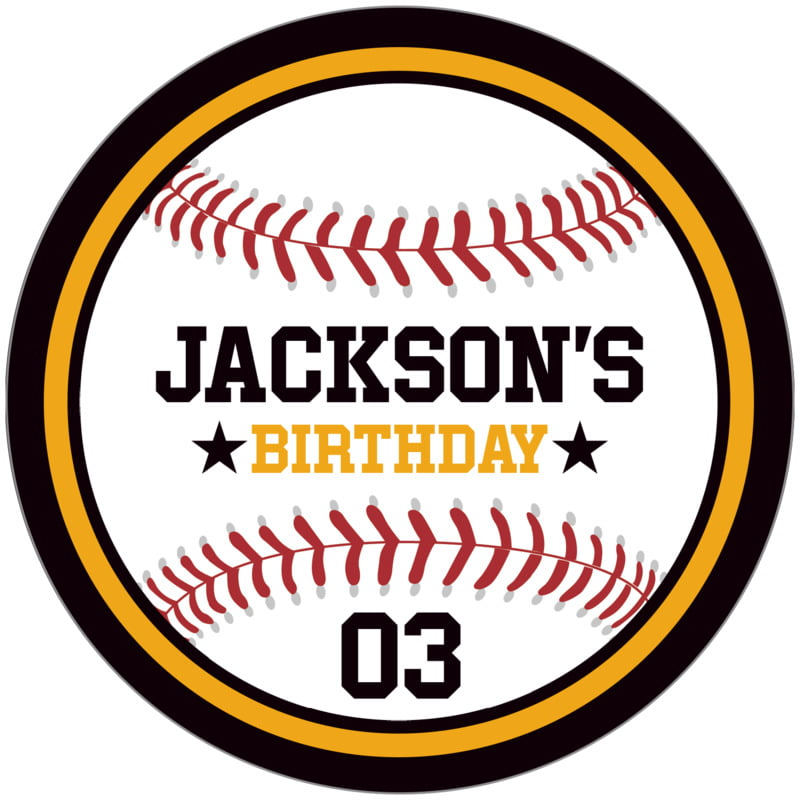 circle food/craft labels - gold & black - baseball (set of 12)