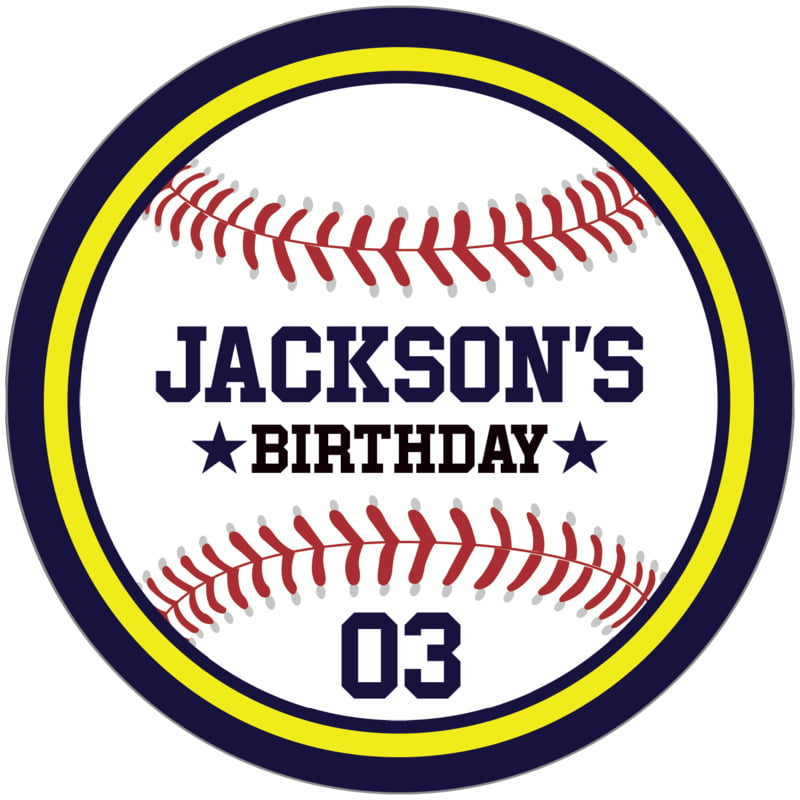 circle food/craft labels - yellow & navy - baseball (set of 12)