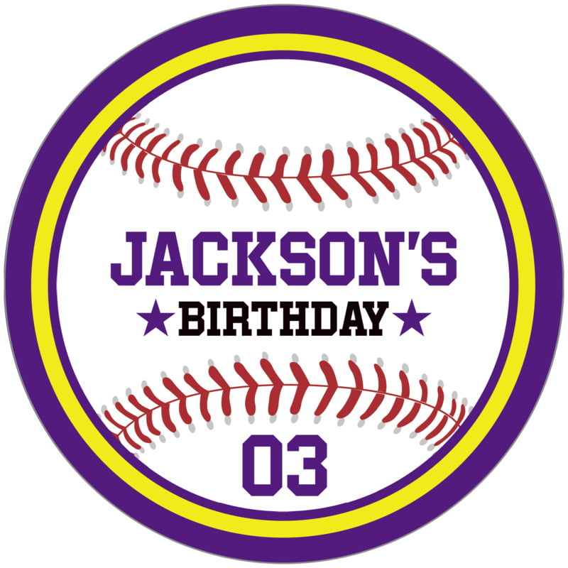 circle food/craft labels - yellow & purple - baseball (set of 12)