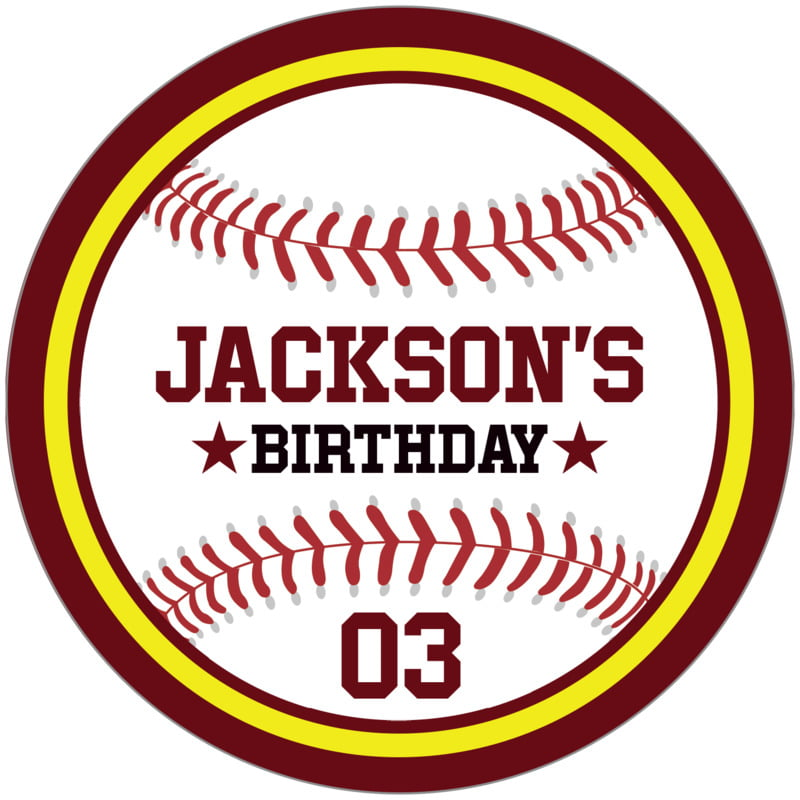 circle food/craft labels - yellow & maroon - baseball (set of 12)