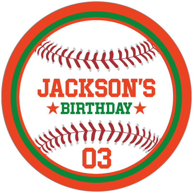 circle food/craft labels - green & orange - baseball (set of 12)