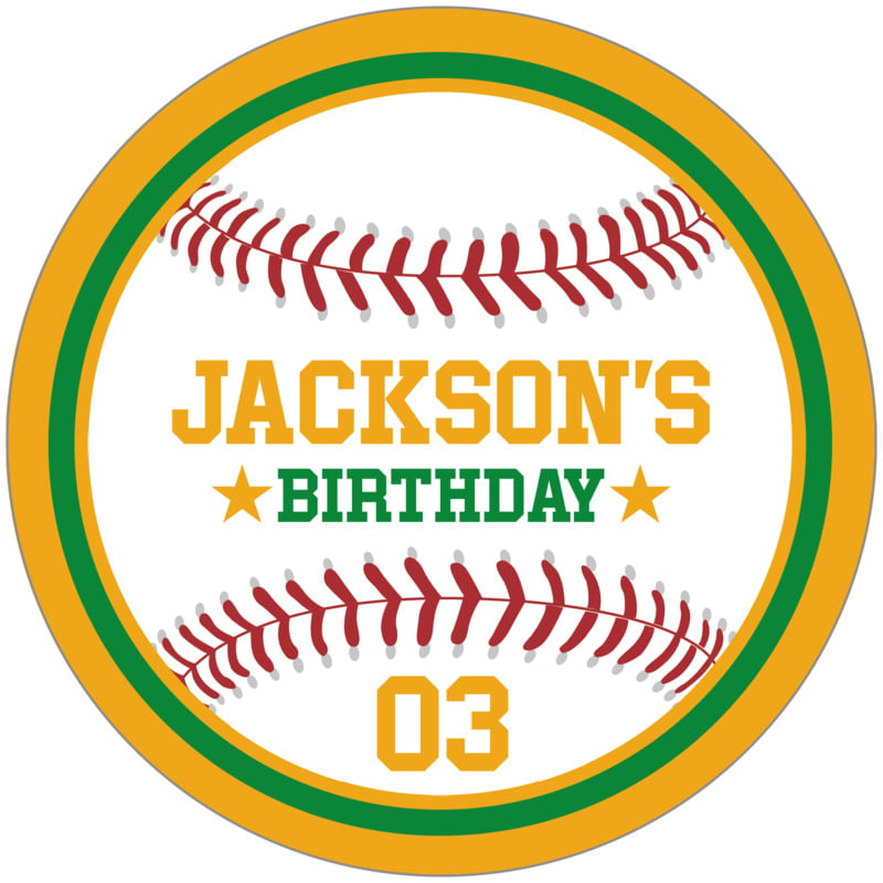 circle food/craft labels - green & gold - baseball (set of 12)