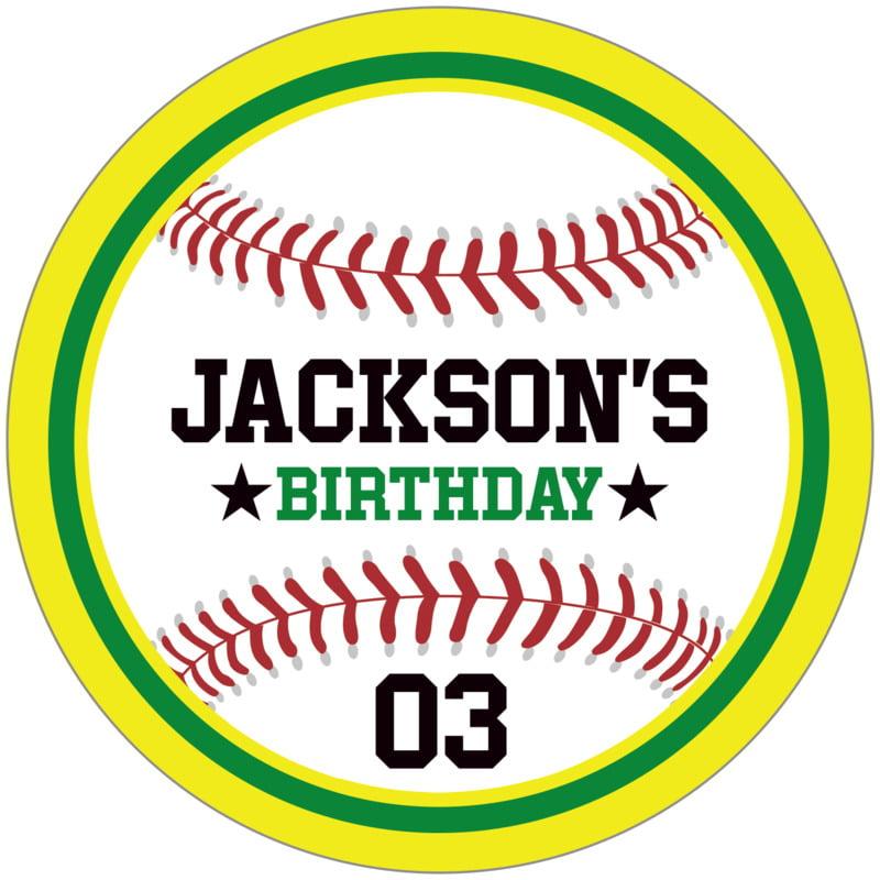 circle food/craft labels - green & yellow - baseball (set of 12)