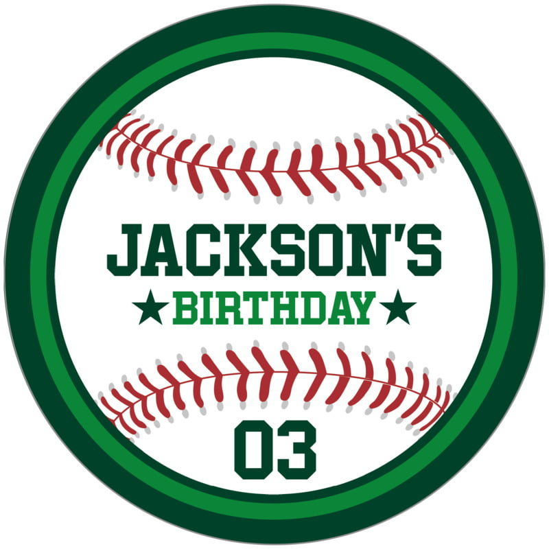 circle food/craft labels - green & forest - baseball (set of 12)