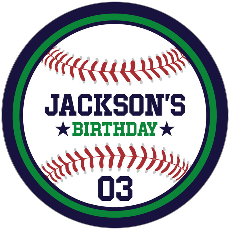 circle food/craft labels - green & navy - baseball (set of 12)