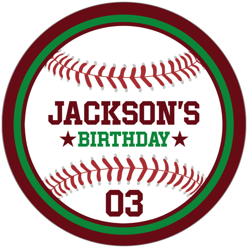 circle food/craft labels - green & maroon - baseball (set of 12)