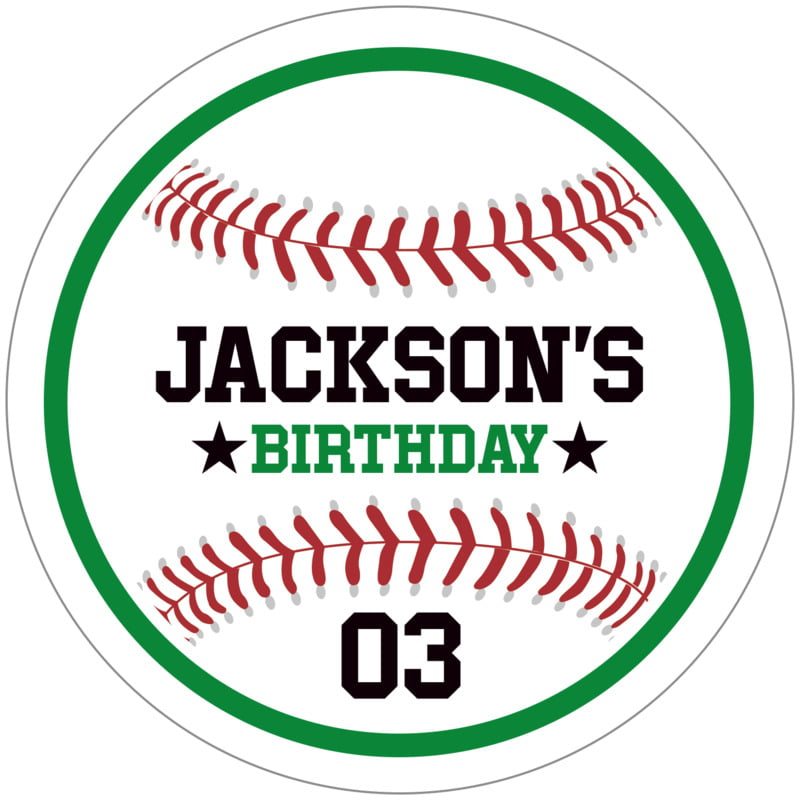 circle food/craft labels - green & white - baseball (set of 12)