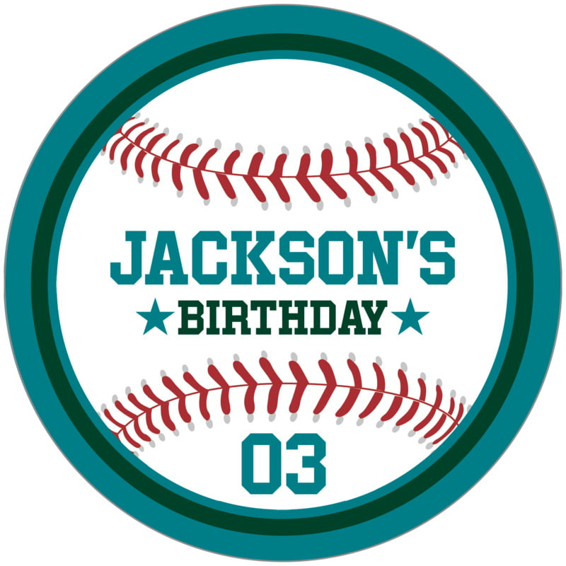 circle food/craft labels - forest & teal - baseball (set of 12)