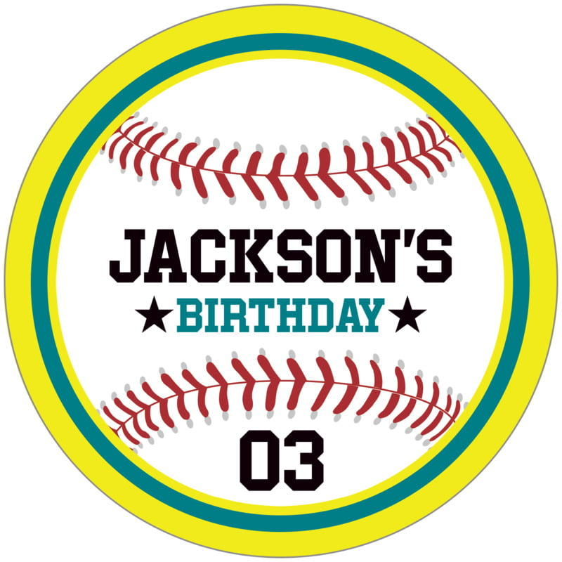 circle food/craft labels - teal & yellow - baseball (set of 12)