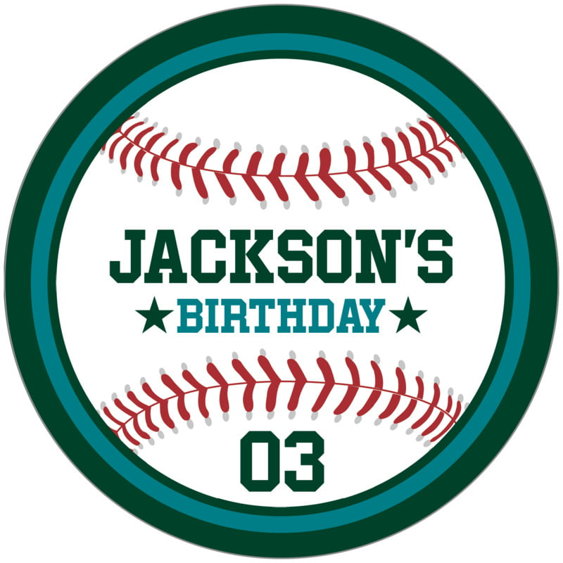 circle food/craft labels - teal & forest - baseball (set of 12)