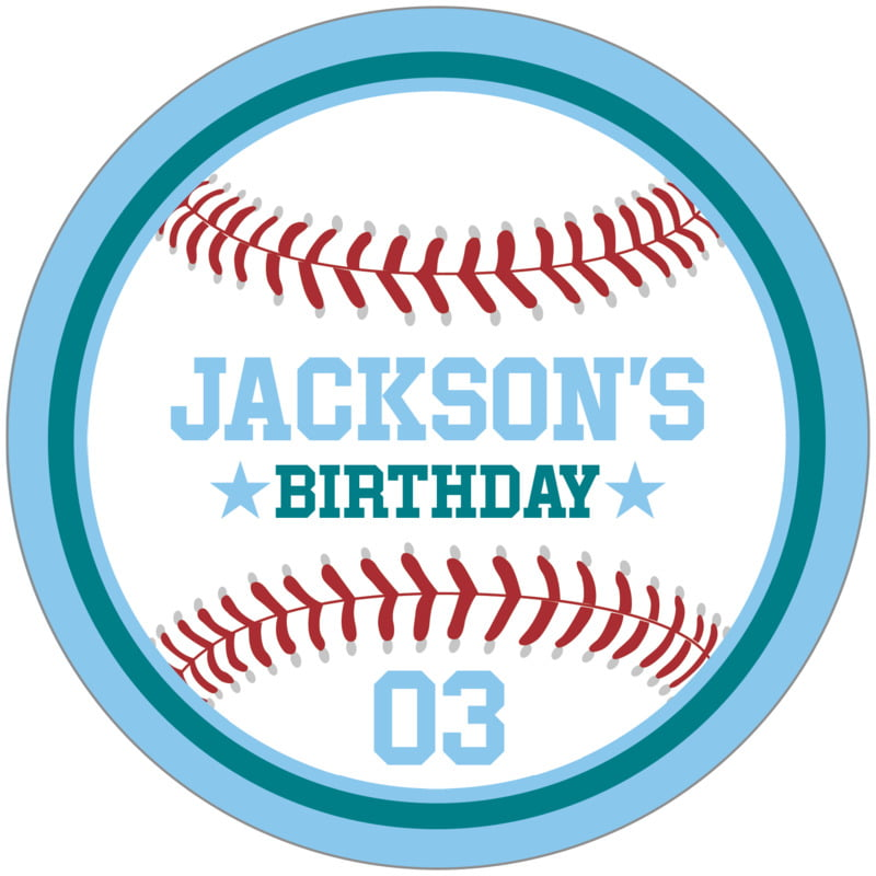 circle food/craft labels - teal & light blue - baseball (set of 12)