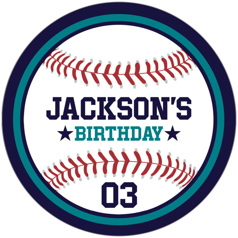 circle food/craft labels - teal & navy - baseball (set of 12)